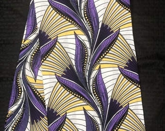 WP1 african fabric per yard white / purple/ Yellow Leaf kente Wax print/ kente cloth/ Material/head wrap