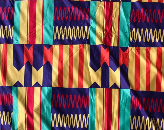 LY6 Kente 4 way Stretch Jersey African fabric per yard african lycra Print for swimsuit/ Lycra african ethnic Print/ stretch fabric/yard
