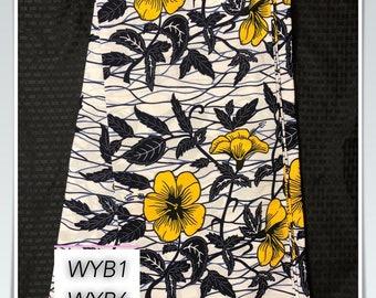 WYB1 African fabric per yard white dark ink blue / Yellow flower Design /African Wax print/ Ankara for Sew Dress/ African Art/ cloth dolls