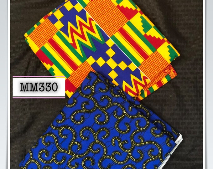 MM330 3 yards each blue kente Mix Match African Wax/ African Fabric/ankara/ Material/ decor pillows/ african cloth dolls