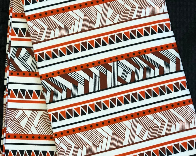 RWB11 African fabric per yard red white brown mud cloth African Wax print: Ankara for Sewing Dresses/ shirts/ African art/ Doll/decor