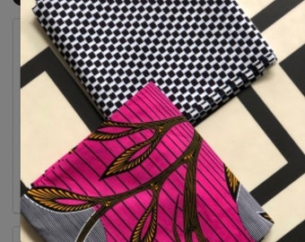 MM433 3 yards Each Pink /black Mix and Match African Fabric/ ankara/ african print/ Material/ ethnic print/Doll cloth
