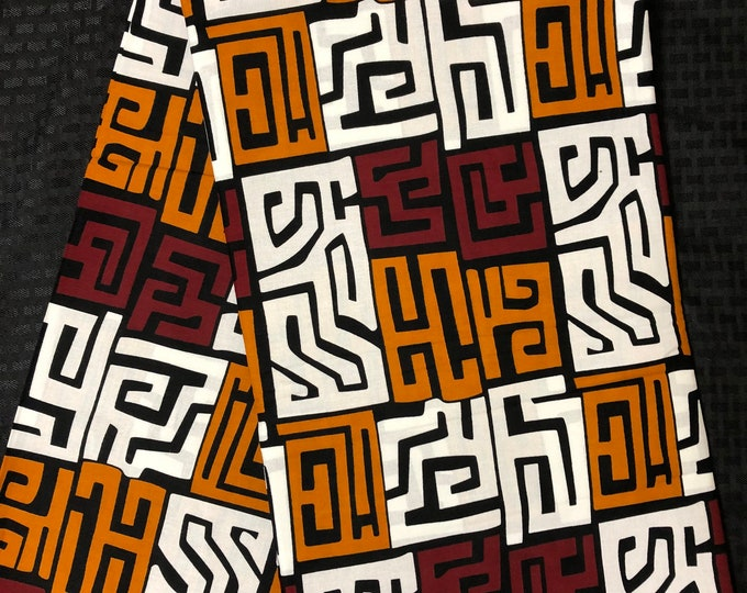 MC53 African fabric per yard red  White/ brown/ mud cloth Kitenge African Wax print/ Ankara for Sew Dress/ African Art