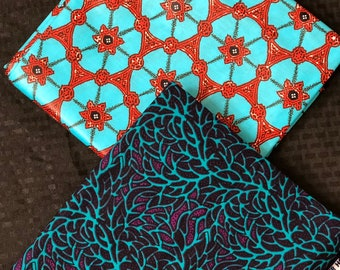 MM201 3 yd each Mix Match Turquoise Blue Design African Fabric/ African Cloth/ African Wax print/ ghana Cloth