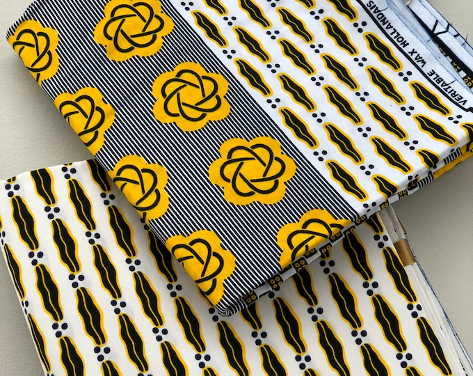 MM142 3 yards each Mix and Match Yellow / White african fabric pair African Fabric/ ankara/ african Wax Print/