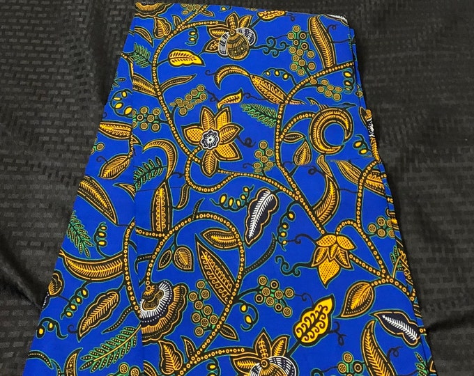 "A1289 1 yard per yard blue and yellow ""ahwene pa nkasa""  superwax African ankara Fabric"