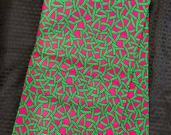 AK11  african fabric per yard Pink/ Green / African Wax print/ Ankara/ African Cloth/ Material/ Ghana/ Nigeria Fabric