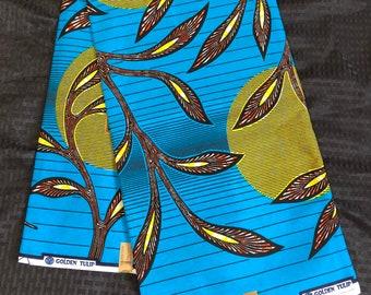 6 yards blue yellow orange/brown sun moon leaf African Fabric/ African Wax print/ Ankara/ African Material/ cloth/ wrapper
