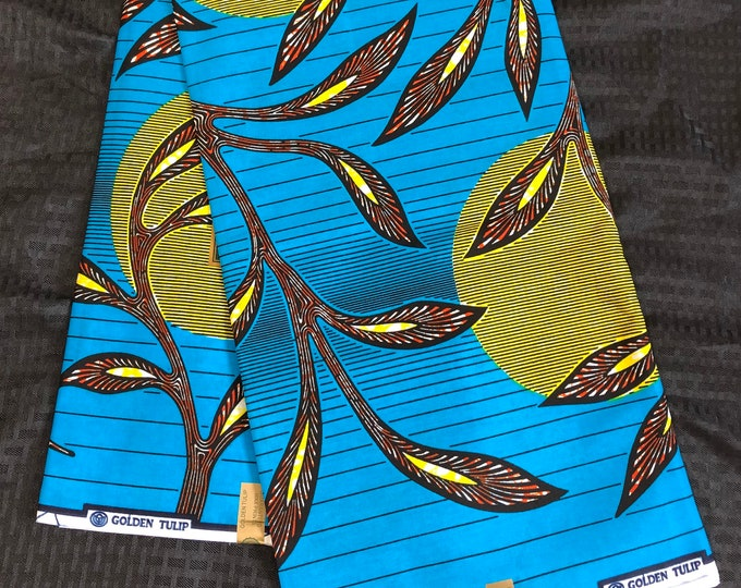 African wax print per yard blue yellow orange/brown sun moon leaf African Fabric/ Ankara/ African Material/ cloth/ wrapper