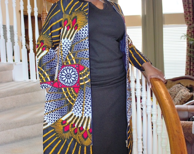 White black red yellow duster Knee length African fabric dress