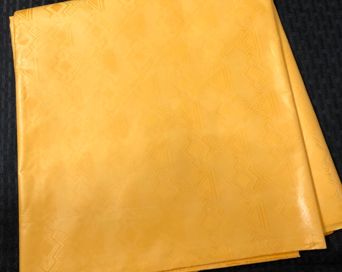 BB16 Bazin / Guinea Brocade African fabric per yard solid yellow gold Kitenge African Wax print/ Ankara / African Art/ cloth dolls