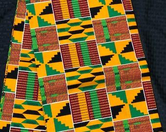 K150 per yard yellow/ orange/ Blue green kente african Fabric/ kente Wax print/ kente cloth/ Material/head wrap/ethnic tribal print