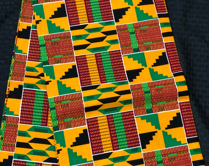 K650 6 yard yellow/ orange/ Blue green kente african Fabric/ kente Wax print/ kente cloth/ Material/head wrap/ethnic tribal print