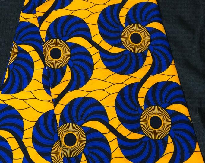 6 yards Royal Blue/yellow fan design  Kitenge african Fabric/ african Wax print/ Ankara/ Material/ cloth/ wrapper