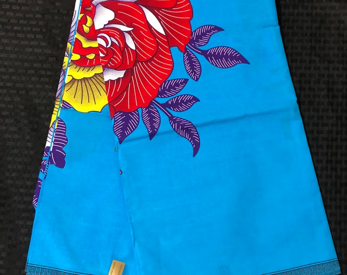 FF68 6 yards yellow red blue Floral bloom African fabric/ african print/ African clothing/ African home decor/ ethnic print/ African mat
