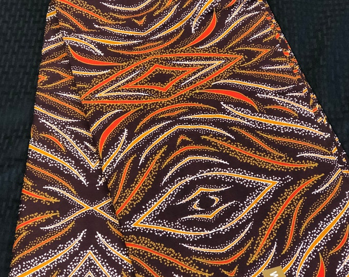 BRN6 6 yard orange brown beige eye african Fabric/ kente Wax print/ kente cloth/ Material/head wrap