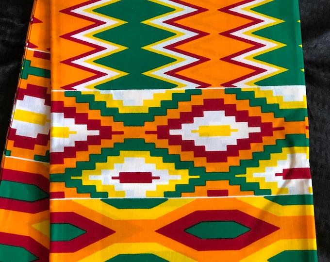 African kente fabric per yard yellow/ orange/ Red green kente Wax print/ kente cloth/ Material/head wrap/ethnic tribal print