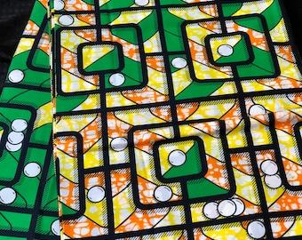 GOW6 6 yards Green orange white design African Fabric/ African Wax print/ Ankara for Sewing Dress/ African hats/ art crafts/dolls