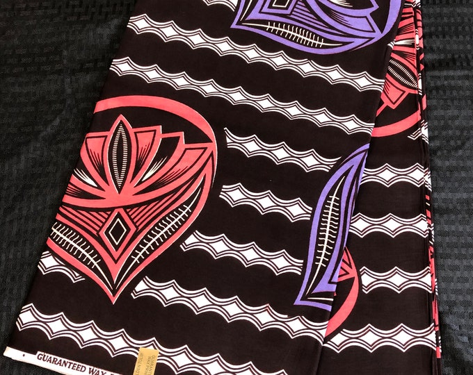 6 yard piece coffee brown /pink/ purple  african print/ ethnic print/ african clothing for sewing dress/ orange African decor
