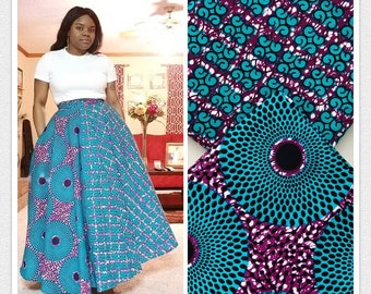 MM9 Blue/Purple turquoise mix design ethnic print Mix and Match African Ankara Fabric Print 3 yards each
