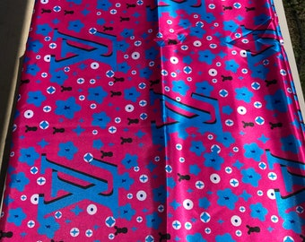 Multicolor 5 yards Silk Pink blue / Design gorgeous ethnic print/ home decor print/ African ankara Wax print