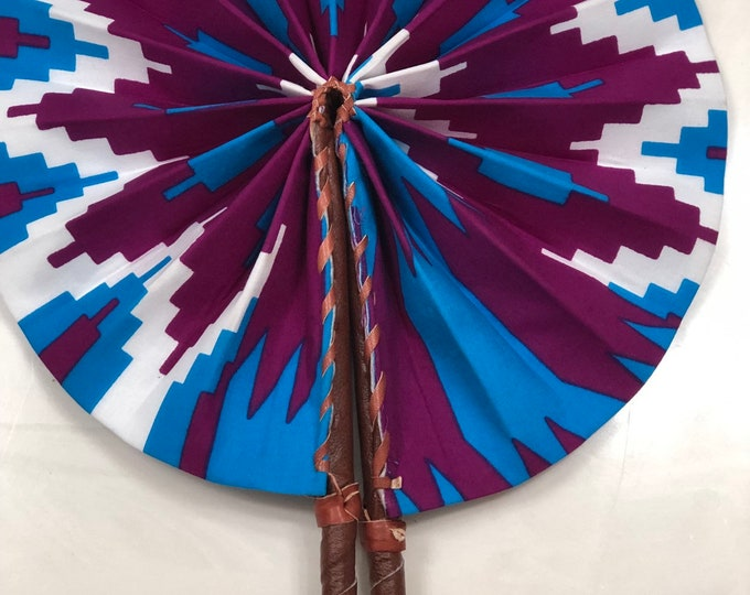 Purple white and blue  Ankara african wedding favor ethnic print fabric round windmill style handmade hand fan with leather trim folding