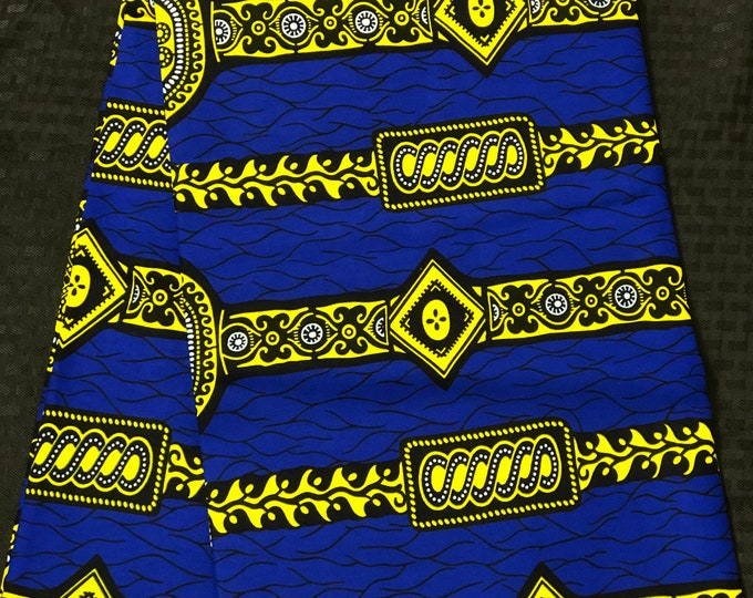 6 yards Royal Blue/neon yellow diamond watch Kitenge african Fabric/ african Wax print/ Ankara/ Material/ cloth/ wrapper