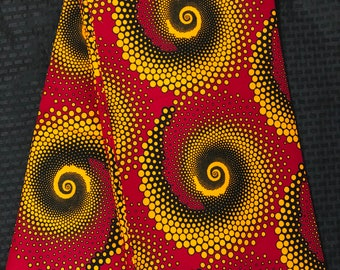 RY621 6 yards yellow gold black red swirl African Fabric/ African Wax print: Ankara for Sewing Dresses/African art/tribal print