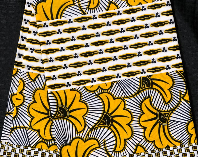 White/ yellow African fabric per yard lip floral ludo salad African Wax print: Ankara for Sewing Dresses/ shirts/ African art/ Doll/decor