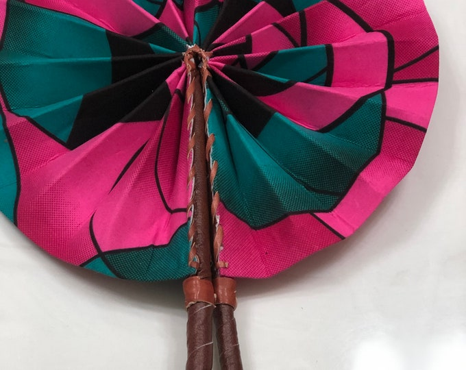 Green/ teal pink  Ankara african wedding favor ethnic print fabric round windmill style handmade hand fan with leather trim folding