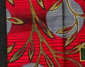 RS 11 African fabric yard Red/ Yellow leaf moon sun kitenge African Fabric/African Wax print/ Ankara for Dress/ African cloth dolls/ African