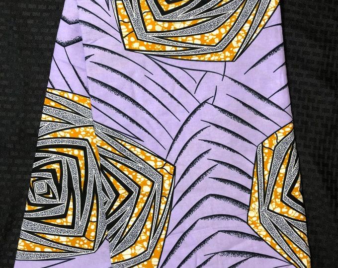 PUB63 6 yard lilac purple/ Brown african Fabric/ Wax print/ kente cloth/ Material/head wrap