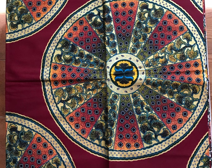 6 yards  Burgundy red  and Gold wheel of fortune Akuffo Design African Wax print/ African Fabric/ Ankara/ ghana Cloth/ Material