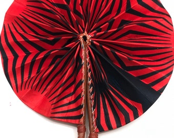 Red  black white Ankara african wedding favor ethnic print fabric round windmill style handmade hand fan with leather trim folding