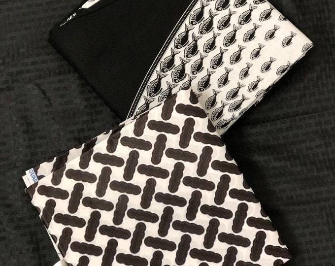 MM225 3 yards each White black Mix aNd Match African Wax/ African Fabric/ankara/ Material/ decor pillows/ african cloth dolls