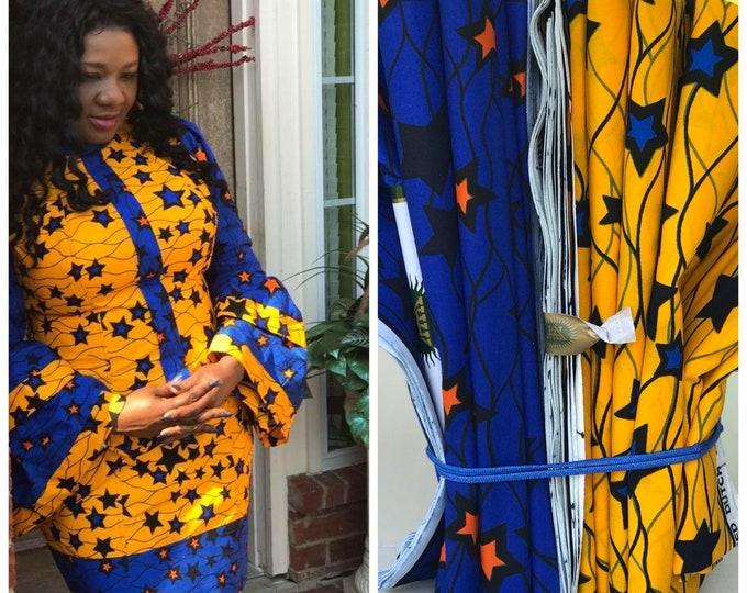 MM47 3 yards each Blue/ Yellow Star Vlisco Mix aNd Match African Wax/ African Fabric/ankara/ Material/ decor pillows/ african cloth dolls