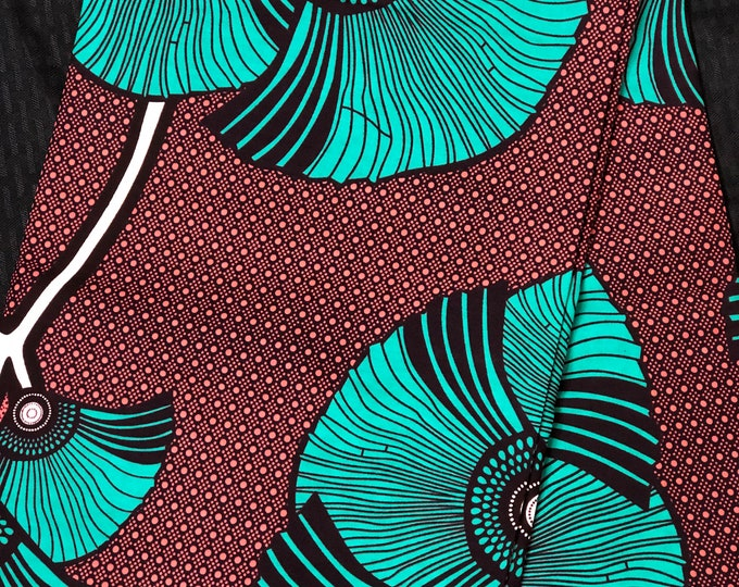 African fabric 6 yard Green turquoise Teal Coral/brick  Pink fan leaf flower Ankara/ African Wax print/ Material/ cloth/ ntom