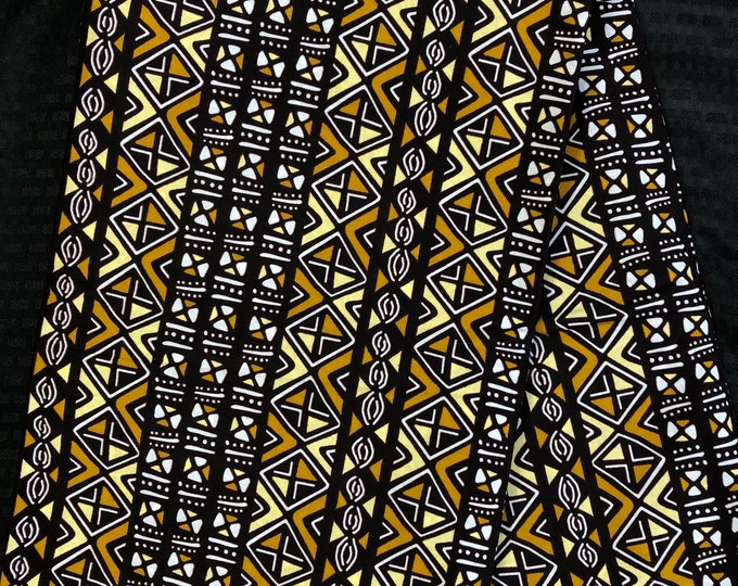 MC64 african fabric per yard coffee Brown white Yellow mud cloth African Wax print/ Ankara for Dress/ African cloth dolls/ African decor