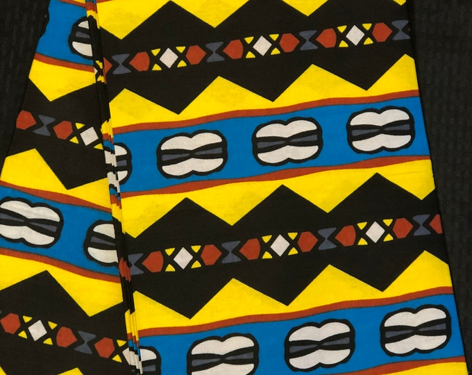 YBB11 african fabric per yard  blue Yellow black mudcloth African Wax print/ Ankara for African art craft/ cloth dolls/ home decor/ quilting