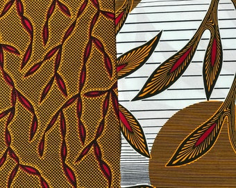 MM29 3 yards each Vlisco pairing Brown/ Red/ White Mix and Match African Fabric/ Wax print/ Material