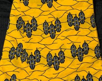 YB62 6 yards Yellow navy Blue Leaf Design kitenge African Fabric/ African Wax print