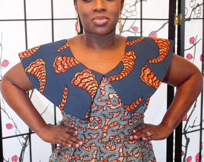 blue mix and match cotton african ghana kente women's jacket top /blouse