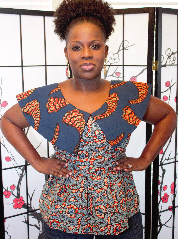 Yellow blue red cotton african ghana kente women\u2019s jacket top blouse