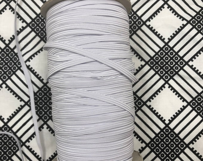 WE10 10 yards Quarter (1/4 )inch white flat elastic/ african craft/ face masks/ hair bands