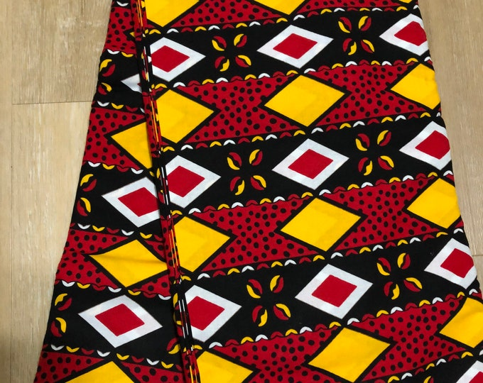 MC143 African fabric by yard White/ yellow black red Mudcloth/ African Wax print: Ankara for Sew Dresses/African art/tribal print