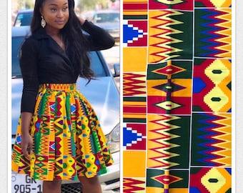 K620 6 yards blue green red/ Yellow kente Design African Fabric/African Wax print/ Ankara for Sew Dress/ African Art/ cloth dolls