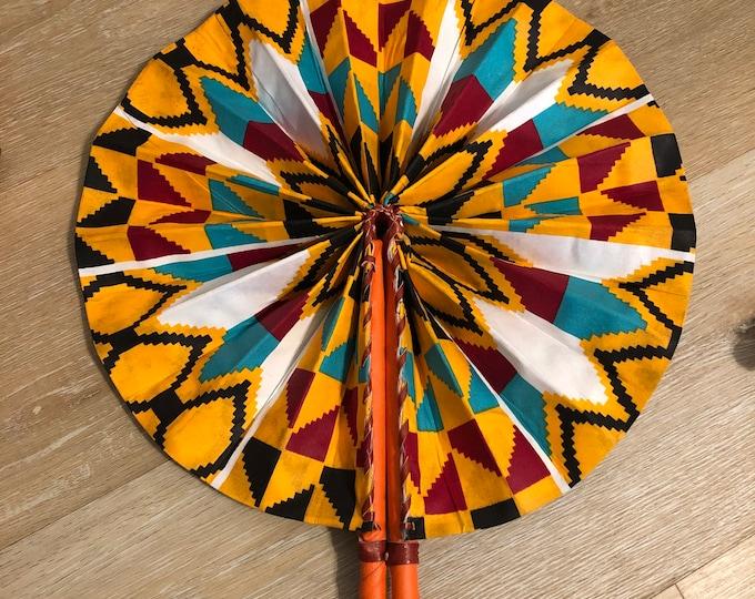 Large blue orange red Kente Ankara african wedding favor ethnic print fabric round windmill style handmade hand fan  leather trim folding