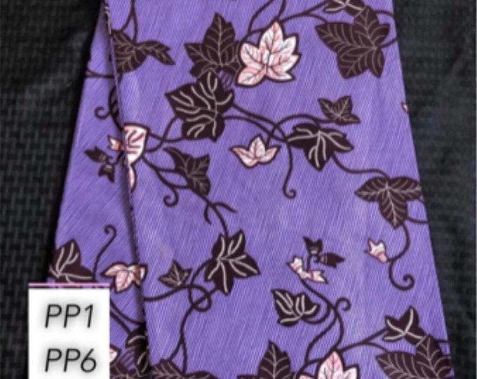 PP1 Per yard purple/ Pink blue leaf african Fabric/ kente Wax print/ kente cloth/ Material/head wrap