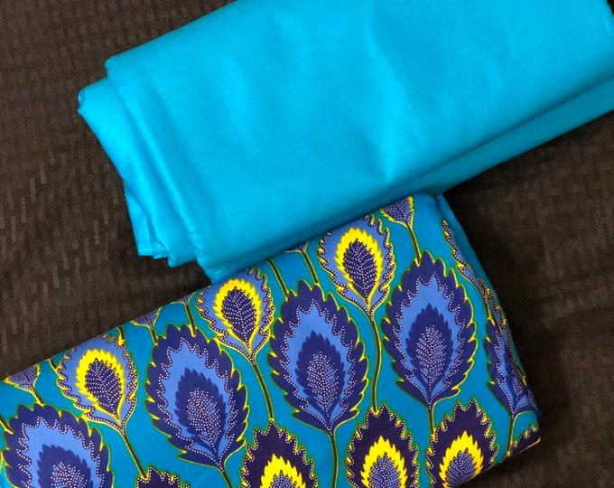 MDM2 3 yds each blue yellow peacock print mix aNd Match African Wax/ African Fabric/ankara/ Material/ decor pillows