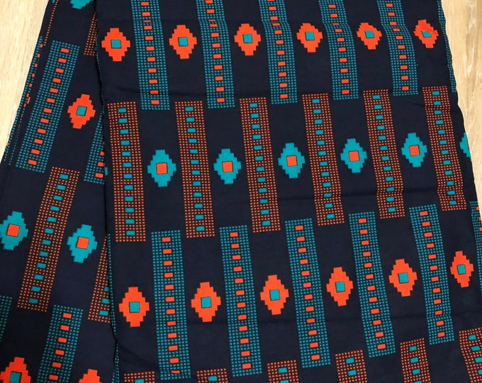 MC147 African fabric per yard Teal Blue Mudcloth orange Design African Wax print/ Ankara/ African Material/ cloth/ wrapper